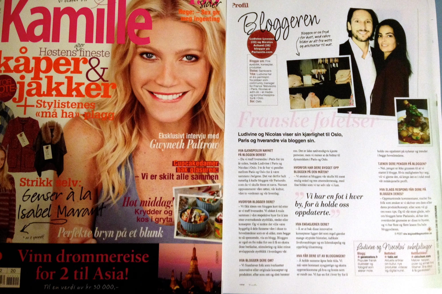 Article about Parisoslo.com in Kamille (september 2012)