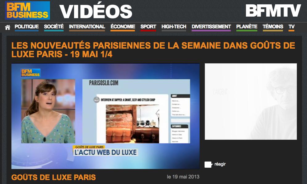 Emission Goûts de Luxe Paris sur BFM BUSINESS du 19 mai 2013